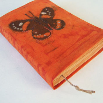 beautiful butterfly - batik fabric journal, diary, notebook, journal, blank book, old pages