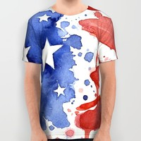 American Flag Watercolor 'Merica! All Over Print Shirt by Olechka