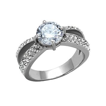 At Last - 2 CT. Equivalent Cubic Zirconia and Pave Stone Engagement Ring