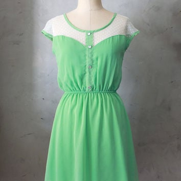 Petit Dejeuner Sage Green - Mint dress polka dot lace illusion neckline // retro // vintage inspired // bridesmaid // day // woodland