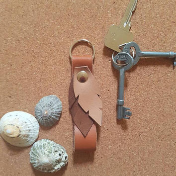Bohemian,festival accessories, brown,natural color,keychain, keyholder, real leather,boho gift idea, gift for her