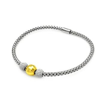 .925 Sterling Silver Gold &  Rhodium Plated Italian Past Present Future Bead Bracelet