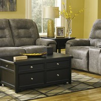 2 pc rotation collection smoke colored fabric upholstered sofa and love seat set with power motion recliners on the ends