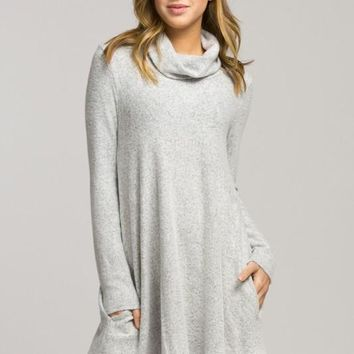 Fall Bliss Turtleneck Dress -  Heather Gray