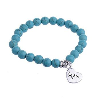 YeeQin Personalized Pendant Heart Mom Charm Turquoise Beads Bracelet Gift for Mother