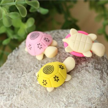 3Pcs Korea Creative Stationery Pencil EraserS Kawaii Colorful Small Turtle Shape Eraser For Office School Prize Writing Drawing