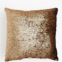 Golden Sequined Throw Pillow