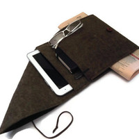 Felt iPad Case- iPad Sleeve- iPad Cover- iPad Bag- Tablet Case-iPad 2, 3, 4- Brown Felt Sleeve Case- Double Pocket
