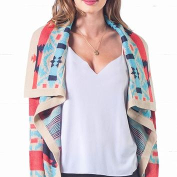 Indie XO Hot Cocoa Aqua Blue Pink Black Taupe Aztec Tribal Open Asymmetrical Draped Long Sleeve Cardigan Sweater