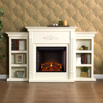 Tennyson Electric Fireplace w/ Bookcases, Ivory