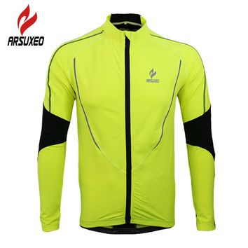 ARSUXEO Winter Warm Up Fleece Thermal Running Fitness Excercise Jersey Cycling Bike Bicycle Sports Clothing Jacket Wind Coat