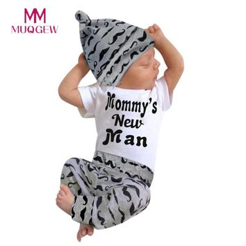 Cute 3PCS Set Newborn Baby Boy Romper Tops +Long Pants Hat Outfits Clothes 0-18M 2017 Winter Christmas Baby Girl Clothes Set