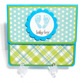 Gift Card Holder, Gift Card Envelope, Gift Card Box, Money Holder: Baby Boy- with Matching Embellished Envelope