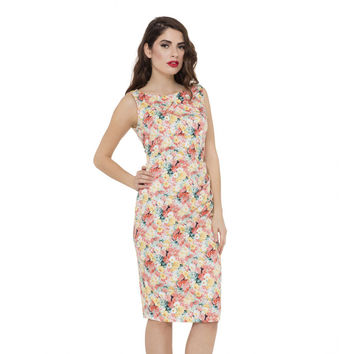 Voodoo Vixen Anastasia Painted Floral Pencil Dress