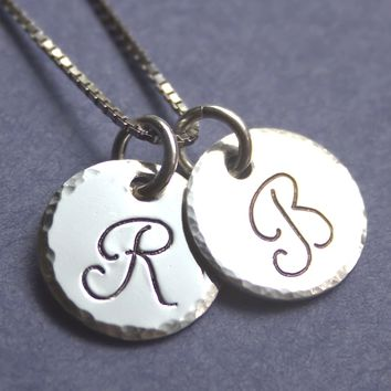 Sterling Silver Discs with Initials and Hammered Edges
