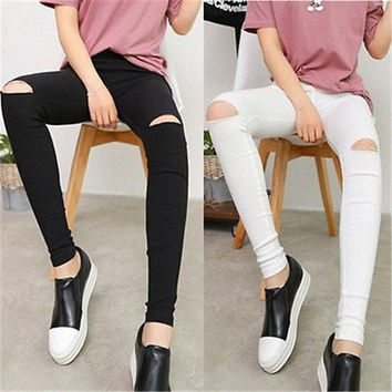Fashion Women Denim Skinny Ripped Hole Solid Pants High Waist Stretch Jeans Slim Pencil Trousers
