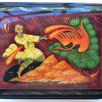 "Original Russian Palekh hand painted lacquer box ""Fier burning Bird""signed by artist item papier mache, egg tempera, lacquer box"