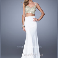 La Femme Gold Crop Top Prom Dress 21250