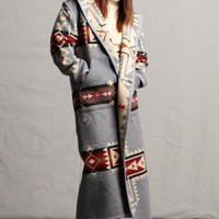Southwestern Womens Long Coat, Reversible Pendleton ® Fabric Wool Coat