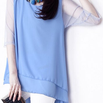 Half Sleeve Dovetail Chiffon Top with Mesh Accent