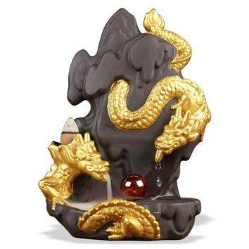 The Newest Backflow Incense Burner Ceramic Dragon Drip Smoke Incense Holder Home Decor Aromatherapy Buddhist Censer Ornaments