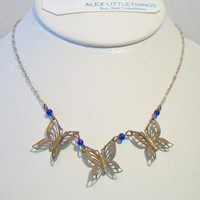 Pididdly Links Butterfly Necklace Blue Beaded Costume Jewelry Nature Lover Fashion Accessories For Her