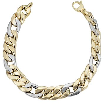 """14k Yellow And White Gold Miami Cuban Curb Hollow Link Mens Bracelet, 8.5"""""""