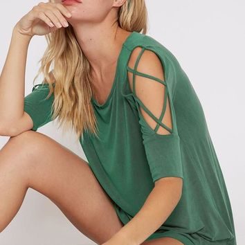 Strappy Cold Shoulder Top - Hunter Green