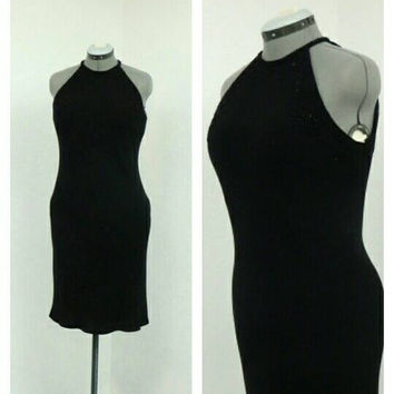 Vintage 90s Black Beaded Dress, Midi Dress, Halter Neck Dress, Bias Cut Dress, Little Black Dress, Keyhoke Back Cocktail Dress, Party Dress