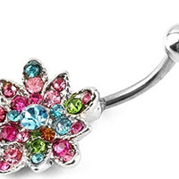 Stainless Steel Colorful Crystal Lotus Flowers Belly Navel Body Jewelry Piercing Bar Ring