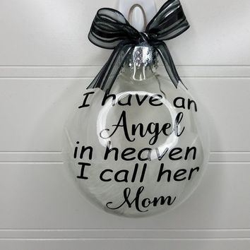Mom Memorial Ornament Gift - Loss of Parent Sympathy Gift, Bereavement Personalized Christmas Ornament Add Name & Date