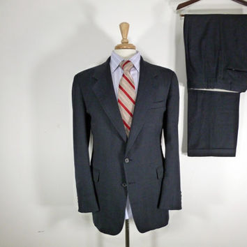 Vintage Mens suit, vintage clothing 80's by Evan Picone Two Piece Two Button Navy Blue Checkered  42