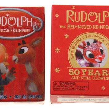 Rudolph Red Nosed Reindeer Lights Figurines Book Playing Cards Set 2