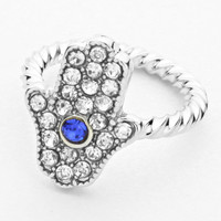 Hamsa Knuckle Ring Blue