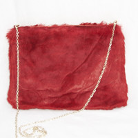 Faux Fur Purse - Red
