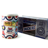Snickers Radio Boombox Mars Candy Bars,Vintage Candy Tin Set, M & M July 4th Metal Candy Tins
