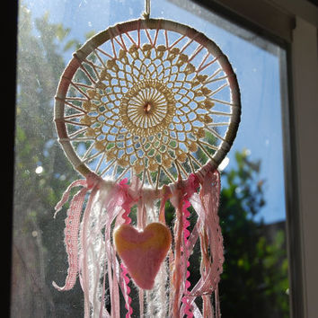Dreamcatcher with heart, needle felted