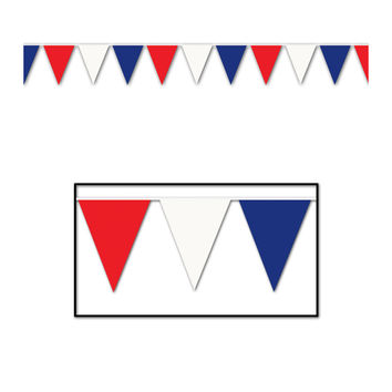 Outdoor Pennant Banner 17 x 30' - Red, White, Blue- Pack of 12