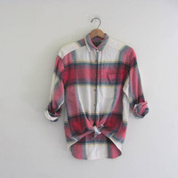 Vintage red Eddie Bauer plaid flannel / Grunge Shirt / size S