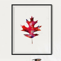 Oak Fall Leaf Art Watercolor Art Print Watercolor Leaf Maple Fall Decor art Autumn Thanksgiving Wall Art Fall Foliage Colors Orange red
