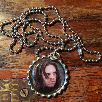 Bucky Barnes (Sebastian Stan) face bottlecap necklace
