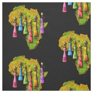 African Women In Colorful Dresses On Africa Map Fabric