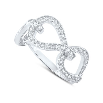 Sterling Silver Simulated Diamond Twisted Chain Link Ring