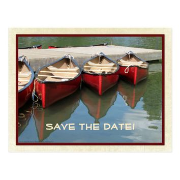 Save the Date 85th Birthday Red Canoes Postcard