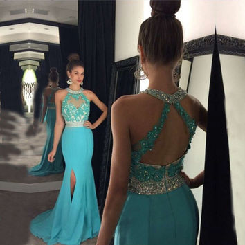 Robe de bal longue Imported Party Dress Blue Long Elegant Prom Dresses Sexy Halter Mermaid Prom Dress 2017 Vestido de festa