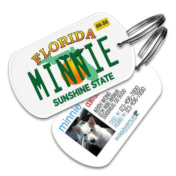 Florida License Plate Dog  Tag - Personalized Pet Tags, Custom Dog Tags, Dog ID Tag, Dog Name Tags, Dog Tags for Dogs, Dog License Tags