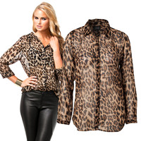 Leopard Print Chiffon Long Sleeve Blouse with Collar