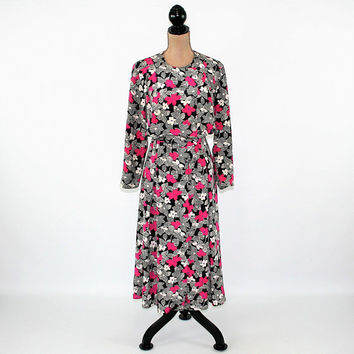 90s Long Sleeve Dress Medium Boho Dress Flowy Floral Dress Black White Fuschia Size 10 Dress Liz Claiborne Vintage Clothing Womens Dresses