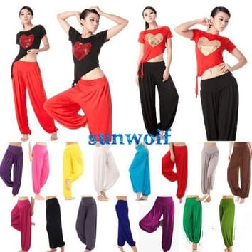2014 New Womens Harem Genie Yoga Dance Pants Aladdin Belly Hippie Baggy Jumpsuit Trousers = 1932923588