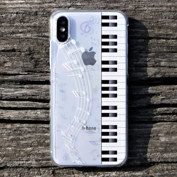 MADE IN JAPAN Hard Shell Clear Case for iPhone X - Piano Music